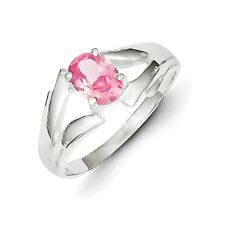 Sterling Silver Oval Cut Pink Solitaire CZ Ring 3.60 gr Size 6 to 8
