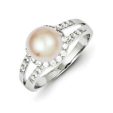 Sterling Silver Simulated Pearl and CZ Ring 3.16 gr Size 6 to 8