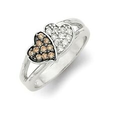 Sterling Silver Double Hearts Ring With Champagne & Clear CZ 3.63 gr Size 6 to 8