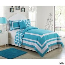 NEW Twin Full Bed Teal Blue White Stripe Dots Reversible 4 pc Comforter Set Teen