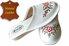 Women's Slippers SCUFF Natural LEATHER White SIZE US WOMAN 7-10 NEW
