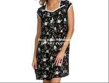 EILEEN WEST BLACK WHITE FLORAL CLASSICAL SHORT GOWN S M