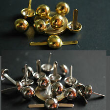 25x 10mm 8mm Silver Gold / Brass Tone Round Dome pin STUDS Leather Denim Craft
