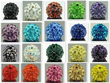 10Pcs Rhinestone Clear Crystal Ball Disco Beads Spacer Findings 10mm