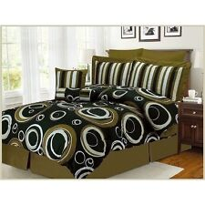 NEW Queen King Bed Olive Green Circles Geometric 8 pc Comforter Deco Pillows Set