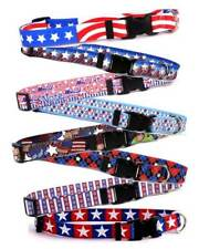 AMERICAN THEMED Dog Collar or Leash * 13 Patriotic Designs * Puppy 4th of July
