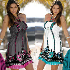 Womens Sexy Boho Short Mini Dresses Ladies Summer Beach Party Sundress Size 6-14
