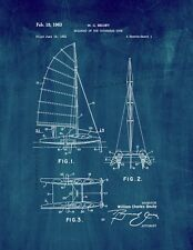 Sailboat Of The Catamaran Type Patent Print Midnight Blue