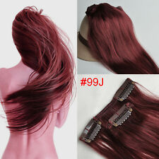 70g-120g Clip in 100% Real Human Hair Extensions #99J Red Wine Burgund New
