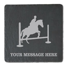 Jumping Horse Design - Personalised Slate Coasters - Pack of 4