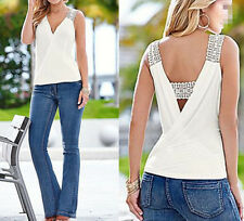 Top Women Summer Casual T-Shirt Blouse Tank Tops Blouse Vest Fashion  Sleeveless