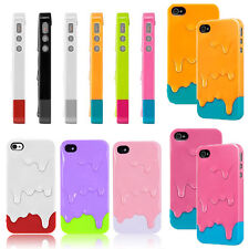 For Apple iPhone 4S 5S Back Case Cover Snap On Colorful Hard 3D Melt Ice Cream