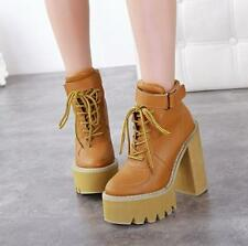 Womens ankle buckle boots punk lace up platform casual chunky heel shoes size