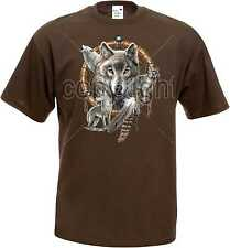 T-Shirt in Schokoton with Animal Nature scene Model Four Wolves