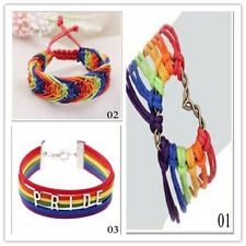Valentine's Gifts Love Gay Braid Rainbow Bracelet LGBT Flag Charm Pride Lesbian
