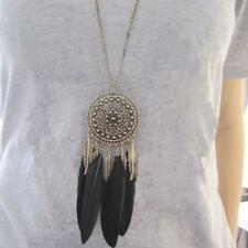 Vintage Womens Bronze Plated Feather Leaf Tassel Pendant Long Chain Bib Necklace