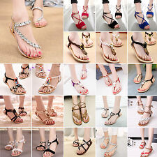 Summer Womens Casual Bohemia Flip Flops Flat Slippers Sandals Beach Thong Shoes