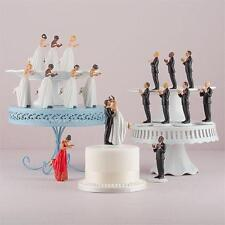 Mix & Match Interracial Couple Bride Groom Porcelain Wedding Cake Toppers