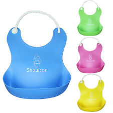Cute Baby Soft Silicone Bib Waterproof Saliva Dripping Kid Infant Lunch Bibs H
