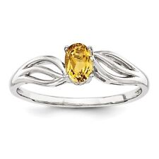 Oval Sterling Silver Citrine November Birthstone Ring 1.55 gr Size 5 to 10