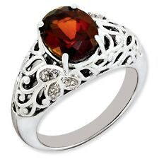 Sterling Silver Oval Garnet & 0.05 CT Diamond Ring 4.28 gr Size 5 to 10