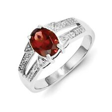 Sterling Silver Oval Garnet & 0.03 CT Diamond Ring 2.86 gr Size 6 to 8
