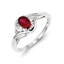 Sterling Silver Oval Ruby & 0.01 CT Diamond Ring 2.03 gr Size 6 to 9