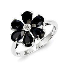 Sterling Silver Sapphire & 0.50 PT Diamond Flower Ring 2.03 gr Size 6 to 8