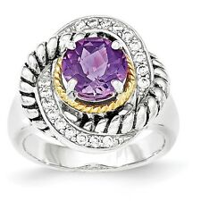Sterling Silver & 14k Gold Amethyst & CZ Twisted Band Ring 7.70 gr Size 6 to 8