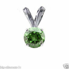 Natural Real VVS Round Green Color Diamond Pendant Sterling 925