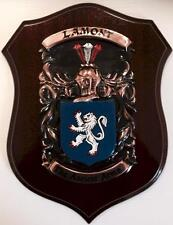 LAMONT Family Handpainted Coat of Arms Crest PLAQUE - 50.000 names available