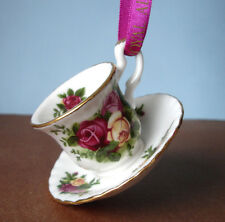 Royal Albert Old Country Roses Mini Teacup & Saucer Christmas Ornament New
