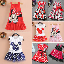 Kids Baby Girls Minnie Mouse Print Sleeveless Vest Dress Party Princess Sundress