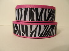 Grosgrain Ribbon, Black & White Zebra Print with Pink Border, Animals, 7/8""