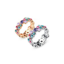 Fashion Women Lady 925 Silver Crystal Ring Colorful Jewelry Wedding Ring New Hot