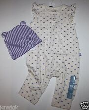 baby Gap NWT Girls 3 6 Mo. Outfit Set Bow Print Flutter Sleeve Knit Romper + Hat