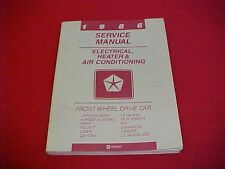 1986 DODGE FWD CAR 600 DAYTONA CHARGER 600 LEBARON LASER SERVICE SHOP MANUAL 86