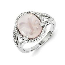 Sterling Silver Rose Quartz & 0.04 CT Diamond Cabochon Ring 4.57 gr Size 6 to 9