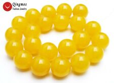 "SALE Big 18mm Round yellow Natural Jade Loose Beads strand 15""- los678"
