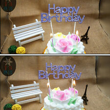 Happy Birthday Party Cake Topper Sign Diamonte Crystal Rhinestone Decorating