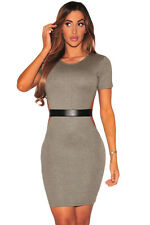 Gray Faux Leather Strap Cut Out Dress O-Neck  MiNi Dress Hollow Out Sexy Women
