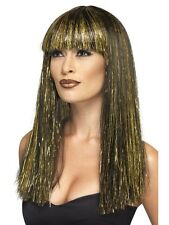 Queen Cleopatra Egyptian Goddess Black Gold Womens Fancy Dress Costume WIG 44254