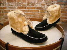 Lamo Black Suede Lace-up Moccasin Faux Fur Ankle Booties NEW
