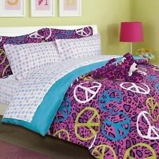 NEW Twin Full Bed Bag Peace Sign Animal Pink Blue 8pc Comforter Sheets Plush Set