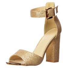 WOMENS BLOCK HEEL ANKLE CUFF STRAP SANDALS LADIES PEEP TOE STRAPPY PARTY SHOES