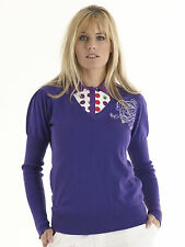 Bunker Mentality Womens Crested V Neck Jumper Purple RRP £50