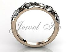14k Rose and White Gold Diamond Leaf and Vine Floral Wedding Band LB-2027-6