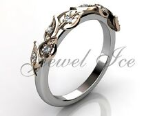 14k White and Rose Gold Diamond Leaf and Vine Floral Wedding Band LB-2027-5