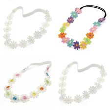 Coloured Flowers Garland Style Elastic Headband Forehead Hair Band Design Choice