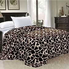 NEW Twin Queen Size Bed Brown Tan Giraffe Animal Print Warm Fleece Blanket NWT